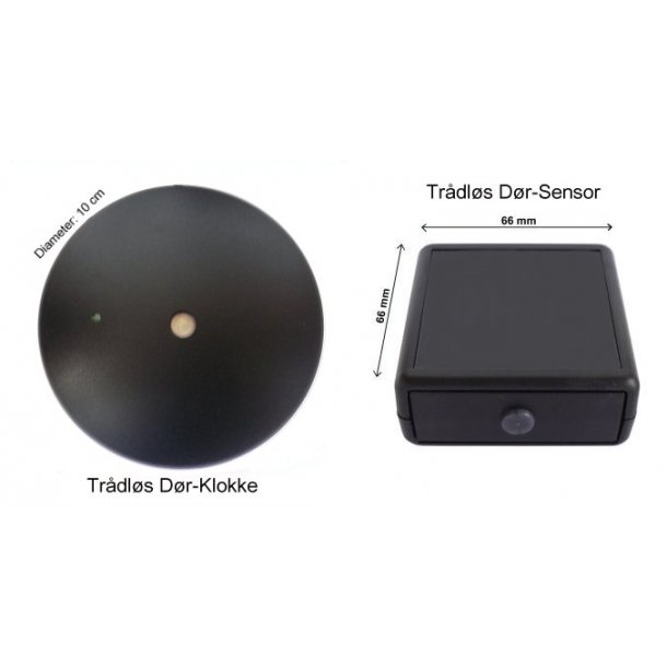 Sæt med trådløs dør-sensor & klokke