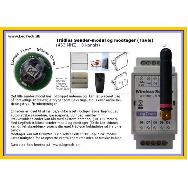 Trådløs sender-modul og modtager (Tavle Dinskinne)